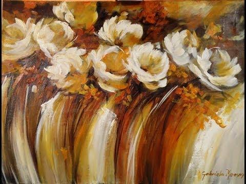 Como pintar con acrílico y espátula Cuadro flores abstractas