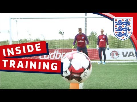 'Cutback' goalkeeper drill with Hart, Heaton, Forster and Butland   Inside Training