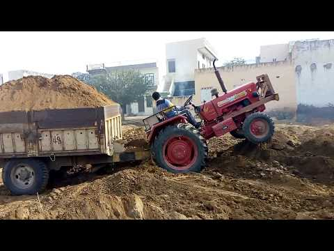 Mahindra 265 stuck in soil with trolly
