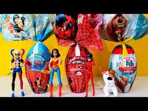Ovos de Páscoa 2017 Miraculous Ladybug DC Super Hero Girls e Pets a vida Secreta dos Bichos