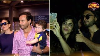 Saif – Kareena Spotted At Airport, Ranveer Takes Selfies With Fans & More