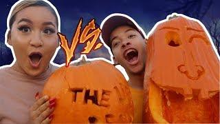 Boyfriend VS Girlfriend Pumpkin Carving Challenge! **MUST WATCH**