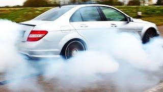 Mercedes C63 AMG Burnout Acceleration Tire SMOKE & 6,2l V8 Exhaust Sound W204 Wheel Spin Benz