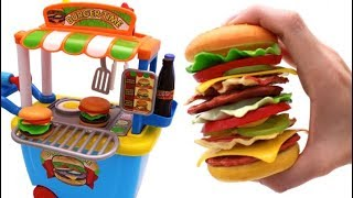 Learn Fruits & Vegetables with Giant Toy Hamburger & Toy Grill for Kids