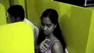 Indian Girl at Internet Cafe