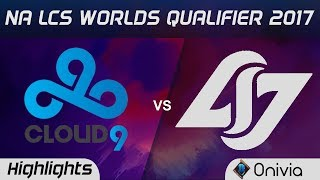 C9 vs  CLG Highlights Game 3 NA LCS Worlds Qualifier 2017 Cloud9 vs  Counter Logic Gaming by Onivia