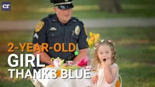 2-year-old Girl Thanks Blue with Tea Party for a Cop