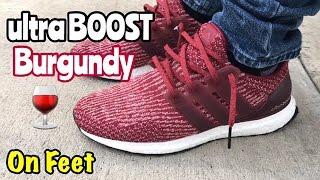 Adidas Ultra Boost Burgundy On Feet