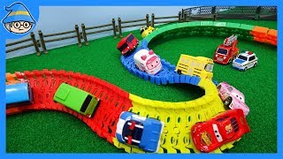 Car toys episode. twisted color road on the way! learn color with car toys.