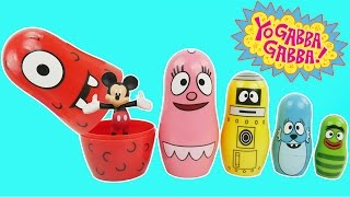 Yo Gabba Gabba Stacking Cups Play Doh Surprise Eggs For Children Learn Colors Nesting Poupées Russes