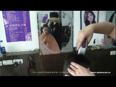 Short hair asian lady in salon gets a flatop buzz cut