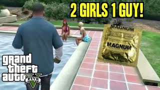 Grand Theft Auto 5 Funny Moments - 2 Girls 1 Guy - Walkthrough Gameplay (GTA 5)