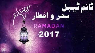 Rawalpindi/Islamabad Ramadan 2017 Schedule of Pakistan - Timetable Sehar o Iftar