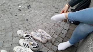 Celina: Clean white socks (part 1 of muddy socks and shoes series)