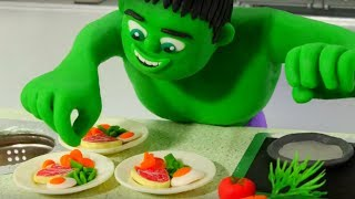 HULK BEST CHEF EVER ❤ Superhero Babies & Frozen Elsa Play Doh Cartoons For Kids ❤ Stop Motion