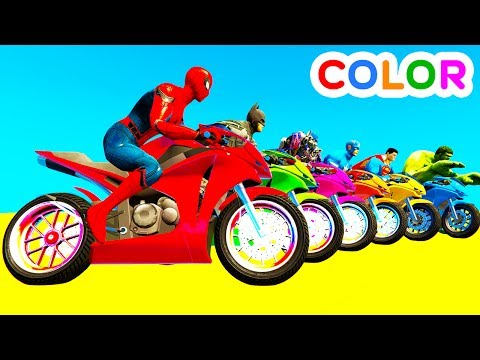 Xxx Mp4 LEARN COLOR Motorcycles W Spiderman For Kids And Superheroes Cartoon For Babies 3gp Sex
