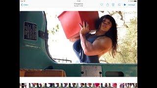 Muscular farm girl