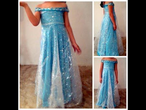 como hacer vestido Elsa Frozen facil y rapido