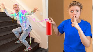 PRANK Wars on Momma Sharer!! (10,000 Cans Of Silly String Slime Challenge)