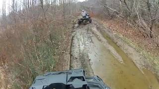 Late fall ATV trail ride, mud, steep hill climbs