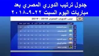 جدول ترتيب الدوري المصري بعد مباريات اليوم السبت 22 -9 - 2018