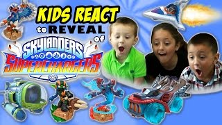 Sky Kids REACT to SKYLANDERS SUPERCHARGERS Reveal Demo! Cars & Toys First Impressions