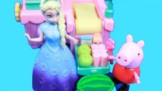Peppa Pig goes Shopping Disney Frozen Queen Elsa Cashier Play-Doh Watermelon AllToyCollector