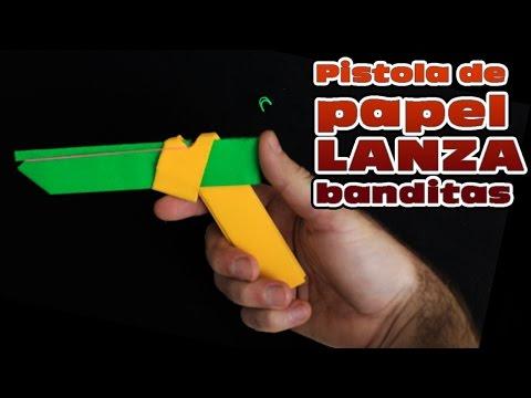 Como hacer una pistola de papel lanza banditas elásticas