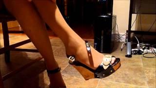 ebony pantyhose legs feet highheeled wedge sandals dangle