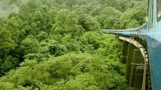 Sakaleshpur to Subramanya train journey along western ghats with monsoon rains through the tunnels