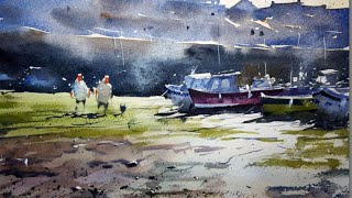 Watercolour demonstration by Tim Wilmot – How to paint a harbour scene with boats and people - #9