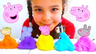 Peppa Pig Clay Buddies Figures from Fluffy Slime, Kids Learn Colours with Peppa