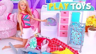Play Barbie Girl Laundry and Cleaning Toys in the Doll House! 🎀