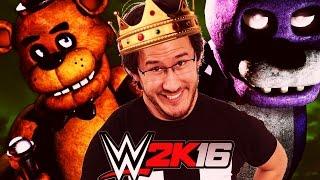 Markiplier vs. Five Nights At Freddy's w/ JackSepticEye | WWE 2K16 **JUMP SCARES**