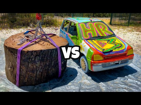 GIANT STUMP Vs. CAR from 45m Tower
