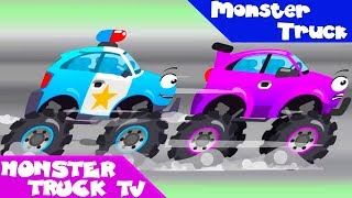 Monster Truck Vs Police Car Fun Racing - New Cartoon For Kids