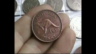 1950 ONE PENNY Australian (King George VI/Kangaroo) coin FOR SALE