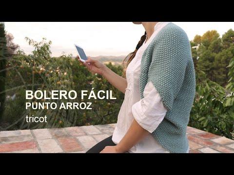 Tutorial Bolero Punto Arroz Tricot o Dos Agujas en Español