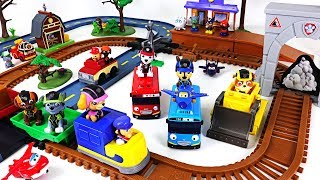 Paw Patrol adventure bay railway and barn rescue track set with Super wings, Tayo, Poli - DuDuPopTOY