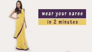 How To Wear A Saree In 2 Minutes| Trick