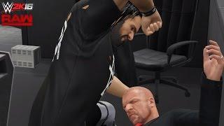 WWE 2K16-15 RAW Custom Scenario: Seth Rollins attacks Triple H!