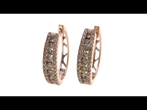 1ctw Diamond 10K Gold Hugger Hoop Earrings