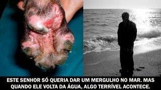 Este senhor só queria dar um mergulho no mar. Mas quando ele volta da água, algo terrível acontece