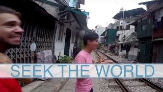 The Rumbling Train Track Street in Hanoi, Vietnam