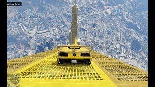 قراند 5 : قفزة مستحيلة من فوق برج خليفة ثم الى سطحه   GTA cars jump over khalifa tower