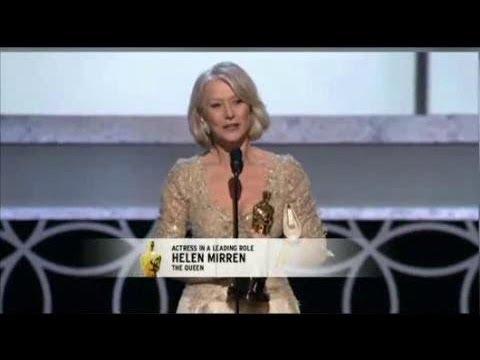 Helen Mirren winning Best Actress for The Queen