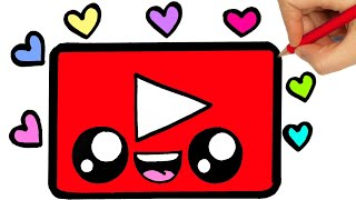 DRAWING YOUTUBE LOGO   DRAW COLORING YOUTUBE   COLORING STEP BY STEP
