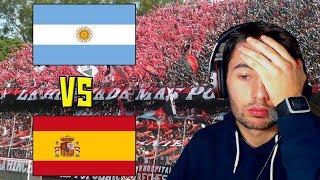 HINCHADAS ARGENTINA (INTERIOR) vs HINCHADAS ESPAÑA   REACCION   ElShowDeJota
