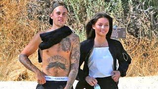 Shirtless Justin Bieber Looking Happy With Stunning Brunette While Hiking In Hollywood