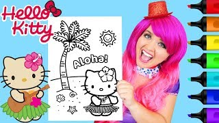 Coloring Hello Kitty Hawaii Hula Dance Coloring Page Prismacolor Markers | KiMMi THE CLOWN